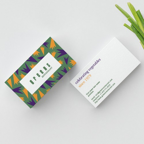 Bright, Happy Business Cards for a Vegetarian Restaurant