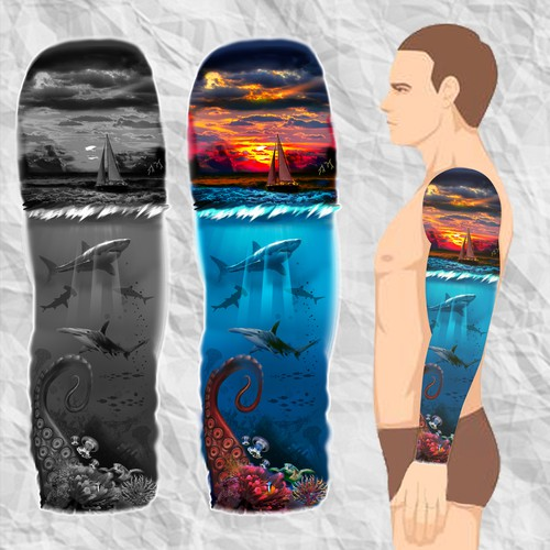 Full Sleeve Tattoo Design Under The Sea.