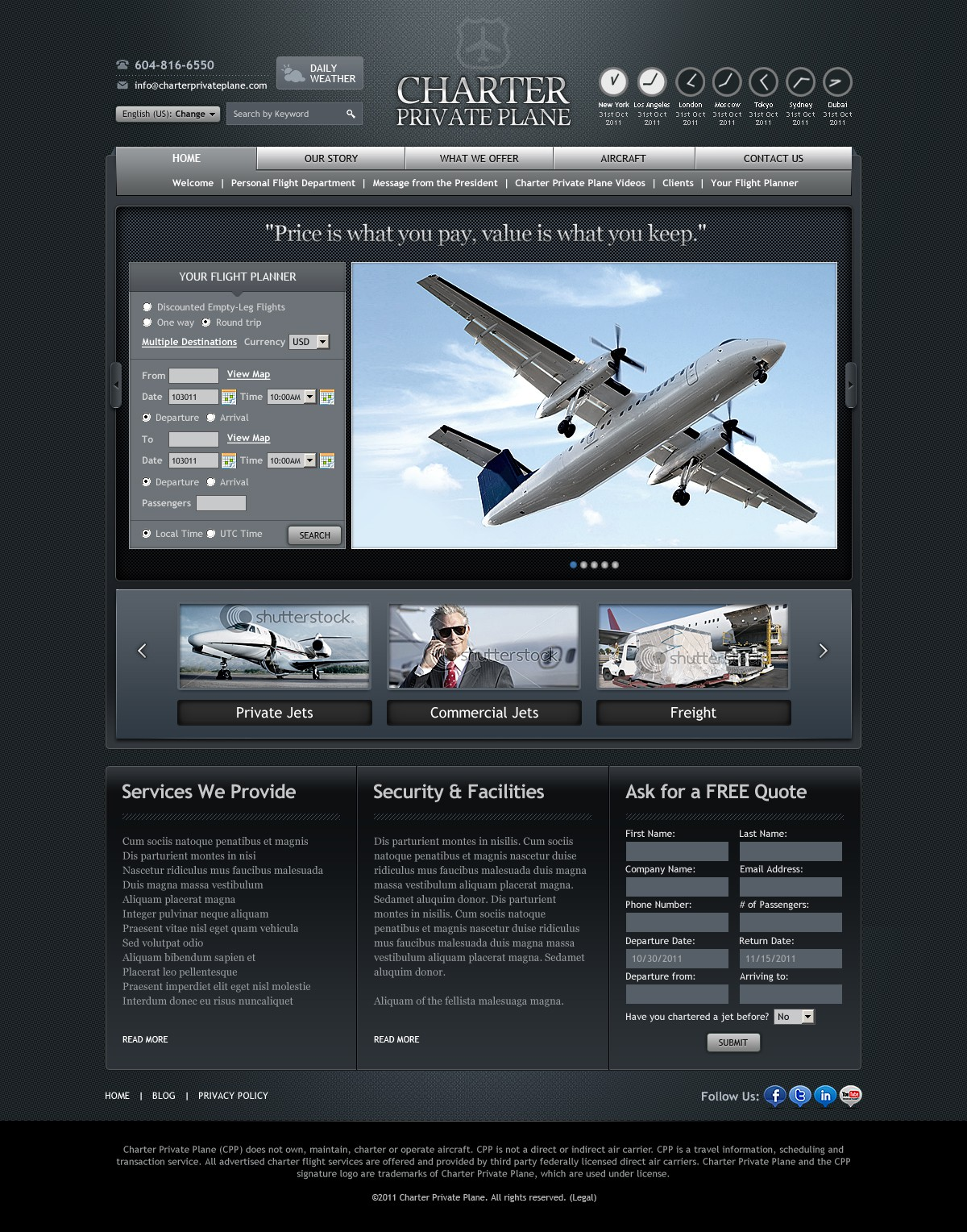 website design for Charter Private Plane