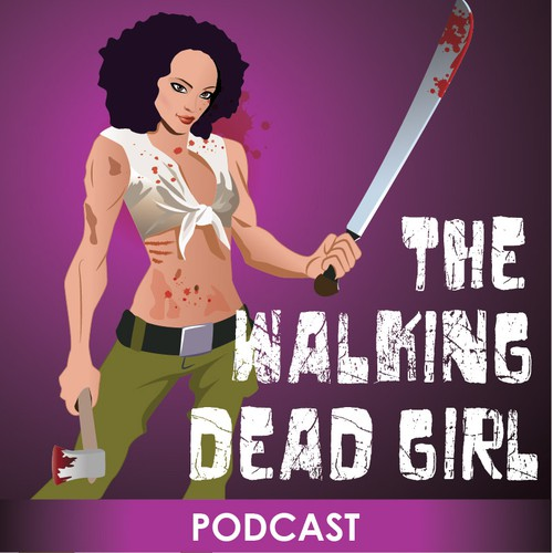 Blend the world of The Walking Dead with a strong female character ina logo for podcast artwork.