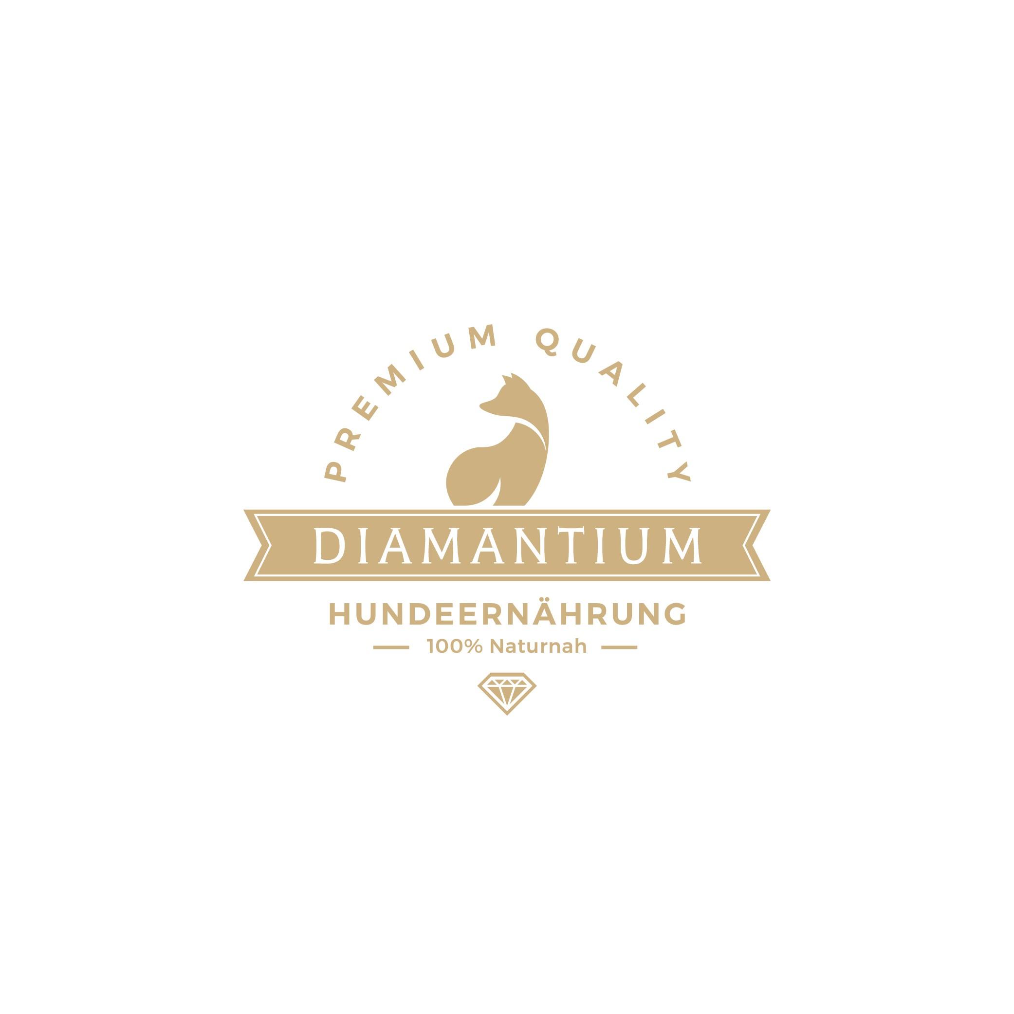 Erstelle ein Logo für Diamantium Hundefutter der absolut luxuriösen Spitzenklasse - Luxus bitte, nicht verspielt