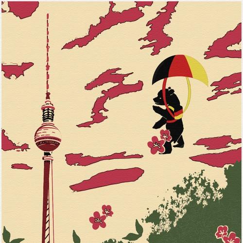 Berlin bear soars in the sky.