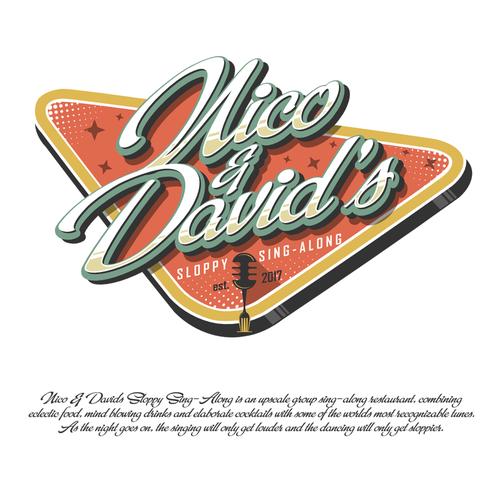 Retro logo concept for upscale group sing-along restaurant