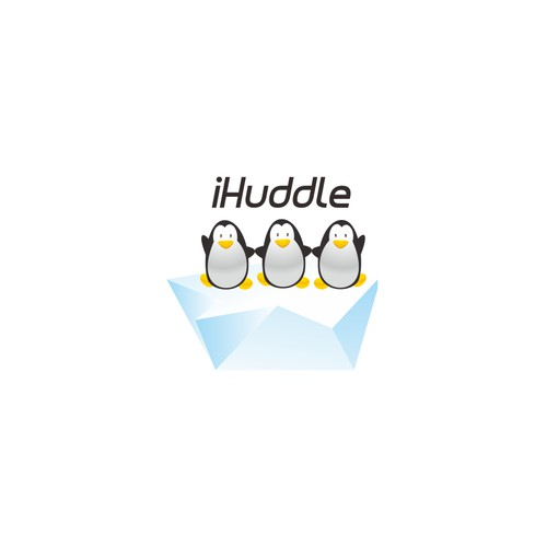 Logo of penguins huddling together for an awesome sports social network / mobile app
