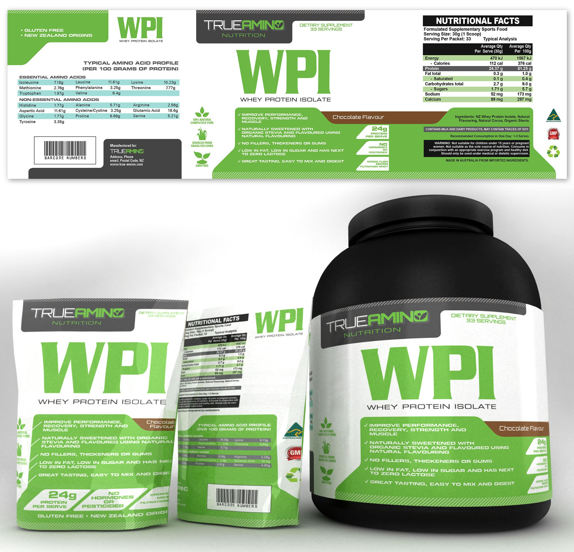 Create a logo and label for a new all natural whey protein supplement