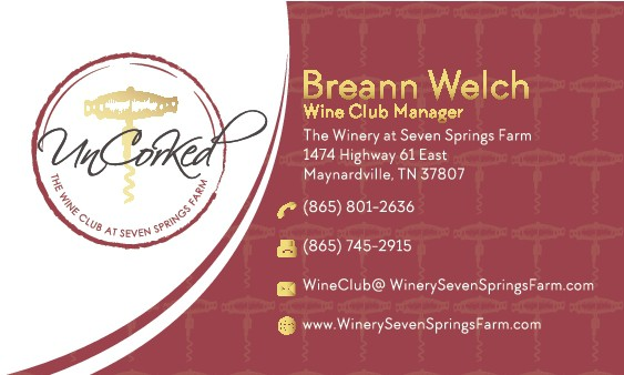 Business Card for UnCorKed  The Wine Club at Seven Springs Farm