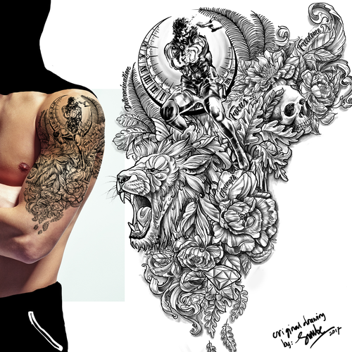 Upper arm half sleeve tattoo