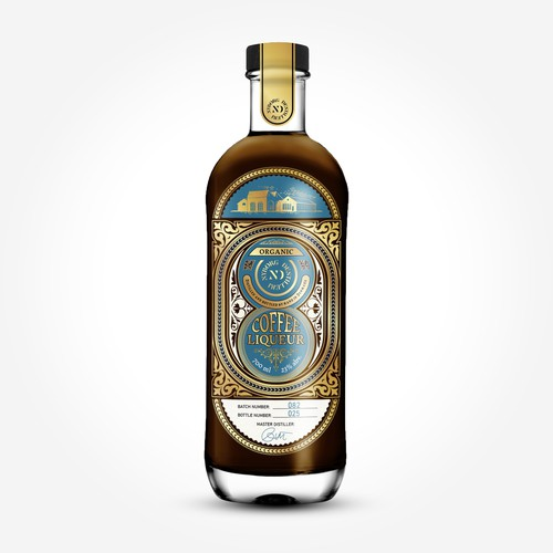 Organic Coffee Liqueur bottle – label design