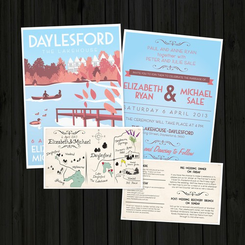 Create a vintage travel poster style wedding invite