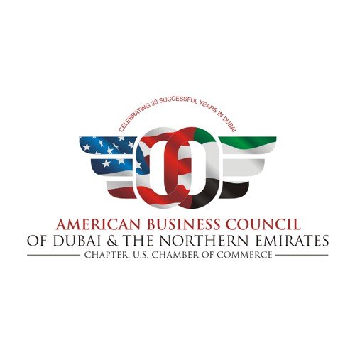 Create a professional logo that incorporates the US and UAE working together on a business level.