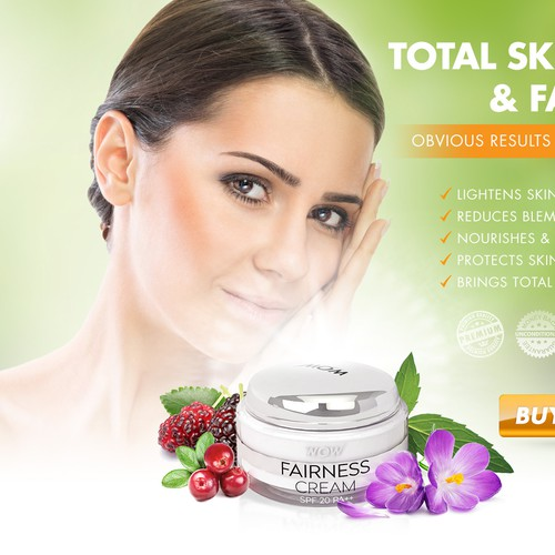 landing page for fairness cream