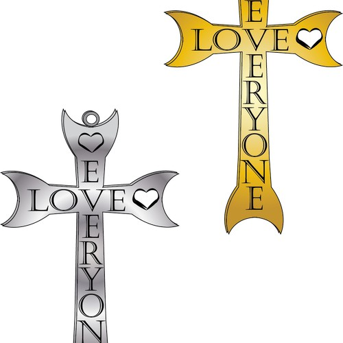"A cross made from the words ""LOVE"" and ""EVERYONE."""