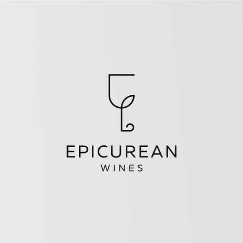 Simple logo with double meaning for Epicurean Wines.