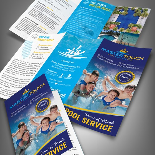 A4 Tri-fold Brochure for Master Touch Pool Services