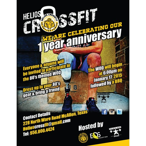 Create a flyer for Helios CrossFit 1 Year Anniversary Community WOD