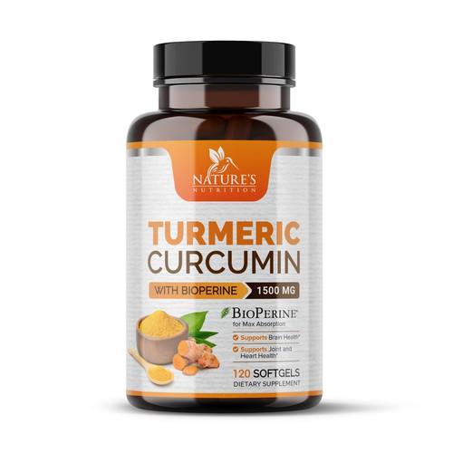 Turmeric Curcumin Dietary Supplement Label Design