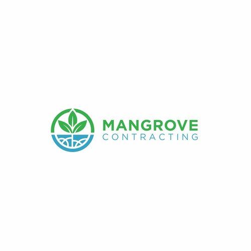 simple modern logo for mangrove contracting logo