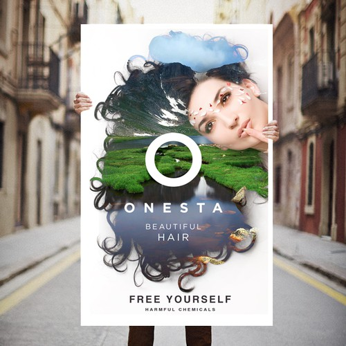 Attractive Poster design for Onesta Hair Care