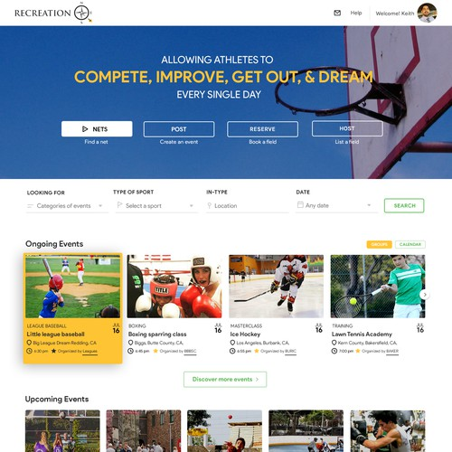 Sports recreational homepage design