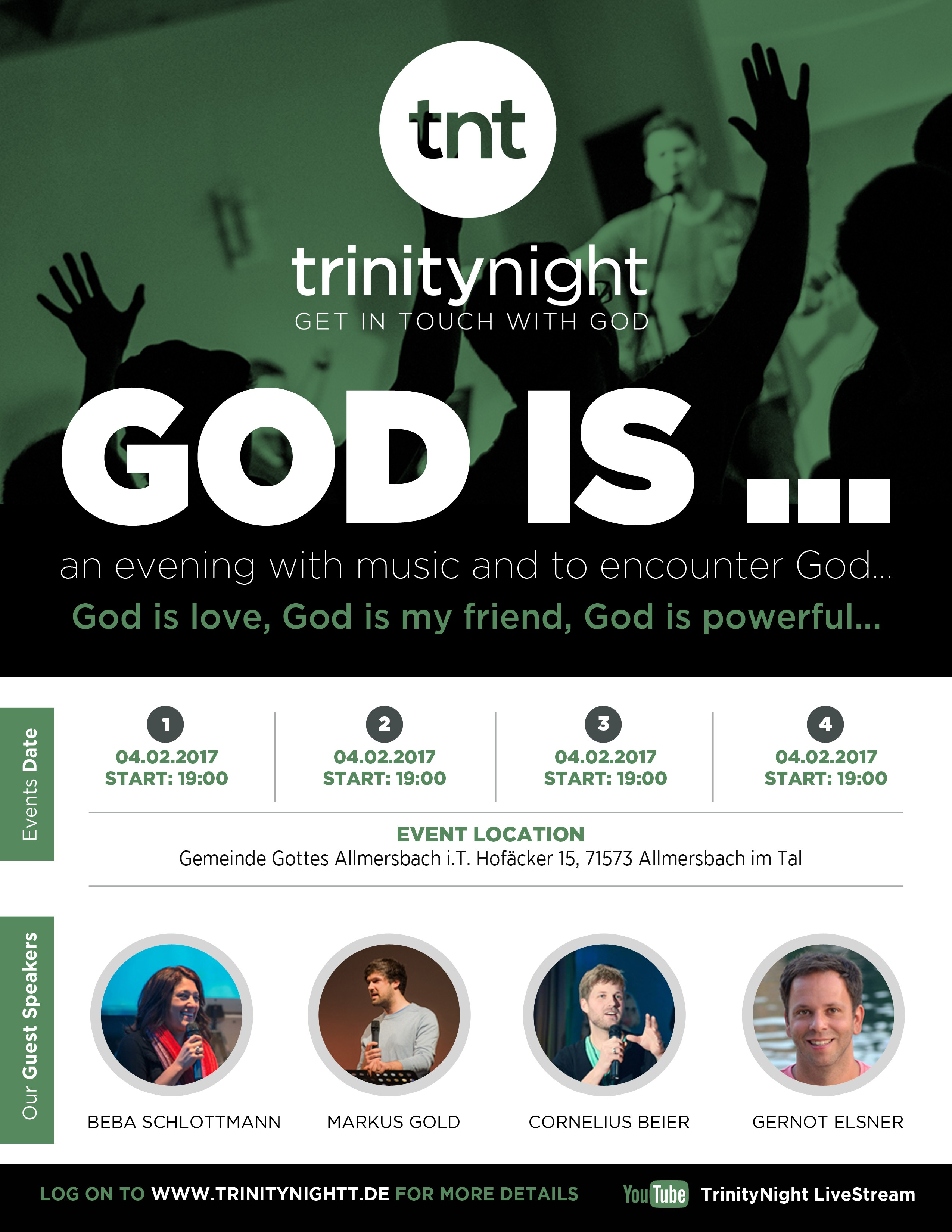 Create a flyer for a youth church event in 2017