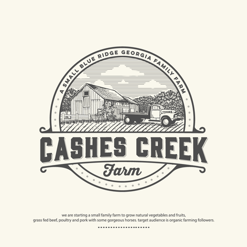 logo and brand identify for Cashes Creek Farms-a boutique family farm