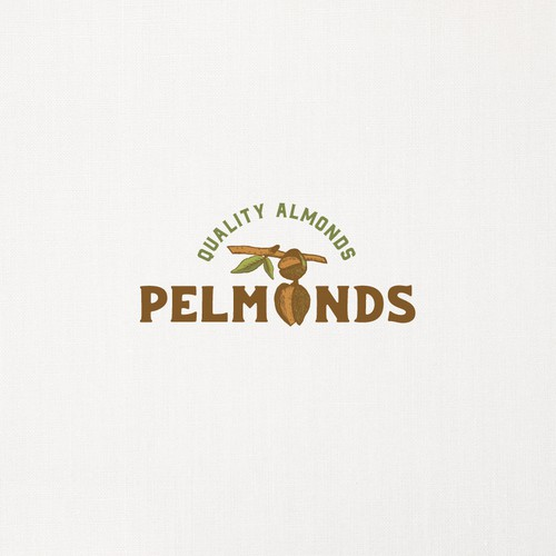 Hand-drawn logo for almonds production