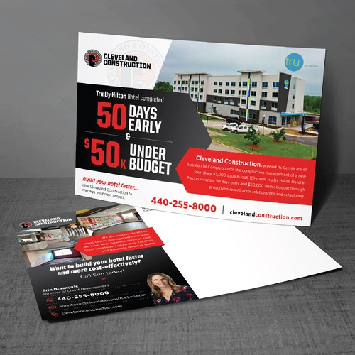 Creative Postcard Design to Market our Hotel Construction Completion