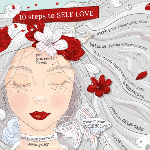 An inspirational illustration about 10 step to SELF LOVE