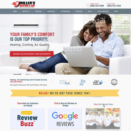 Modern website for residential HVAC service company