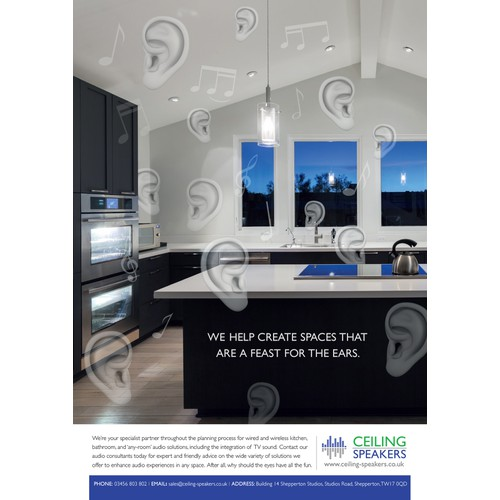 Create an advert to integrate invisible audio into kitchen & bathroom designs