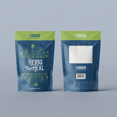 Minimalistic Stand Up Pouch Design for Natural Herbs