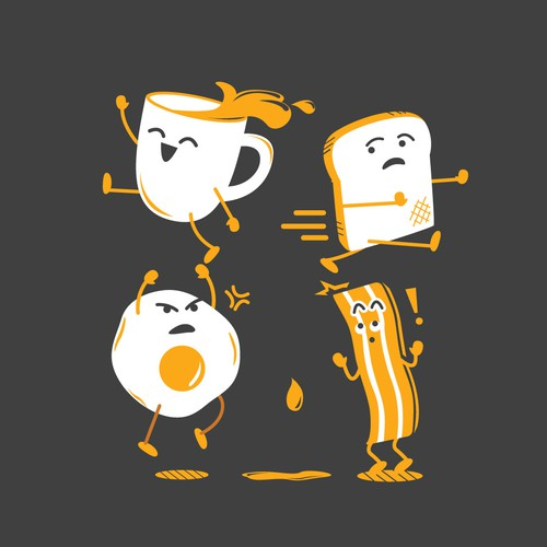2 Colors Fun Breakfast Items Illustration