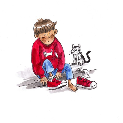 Create an image of an adorable 4 year old boy who has a favourite pair of red shoes