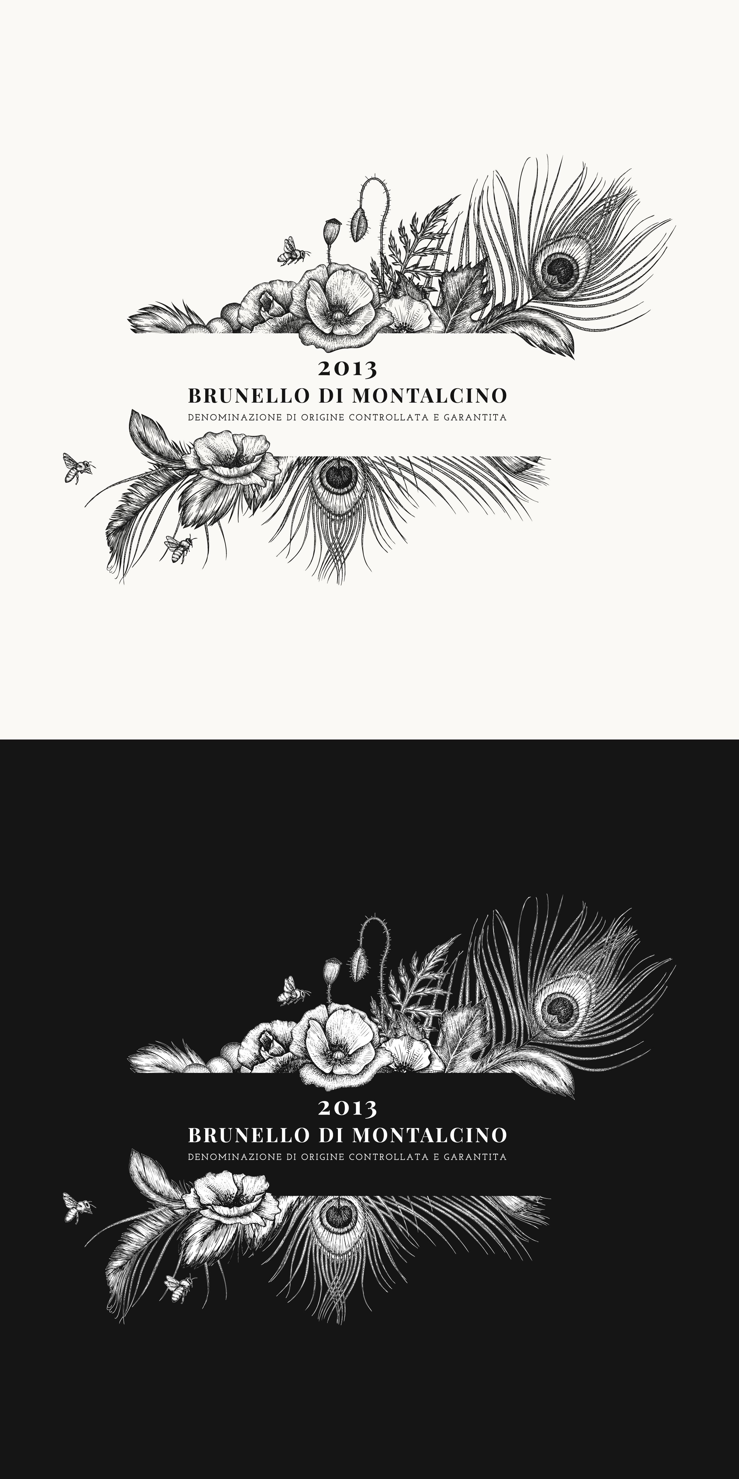 "New Premium Wine Label for Wine Estate ""Corte Pavone"" Montalcino Toscana"