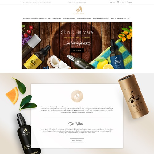 Homepage proposal for woman luxury organic haircair and skincare business