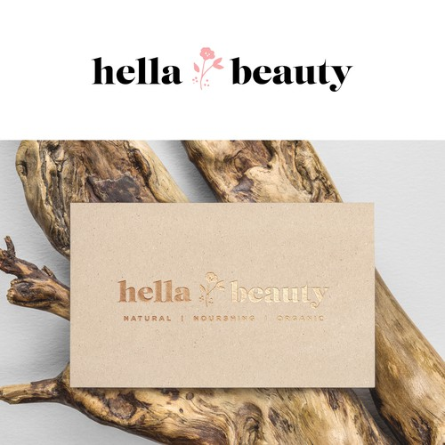 Logo concept for Hella Beauty, natural cosmetics company