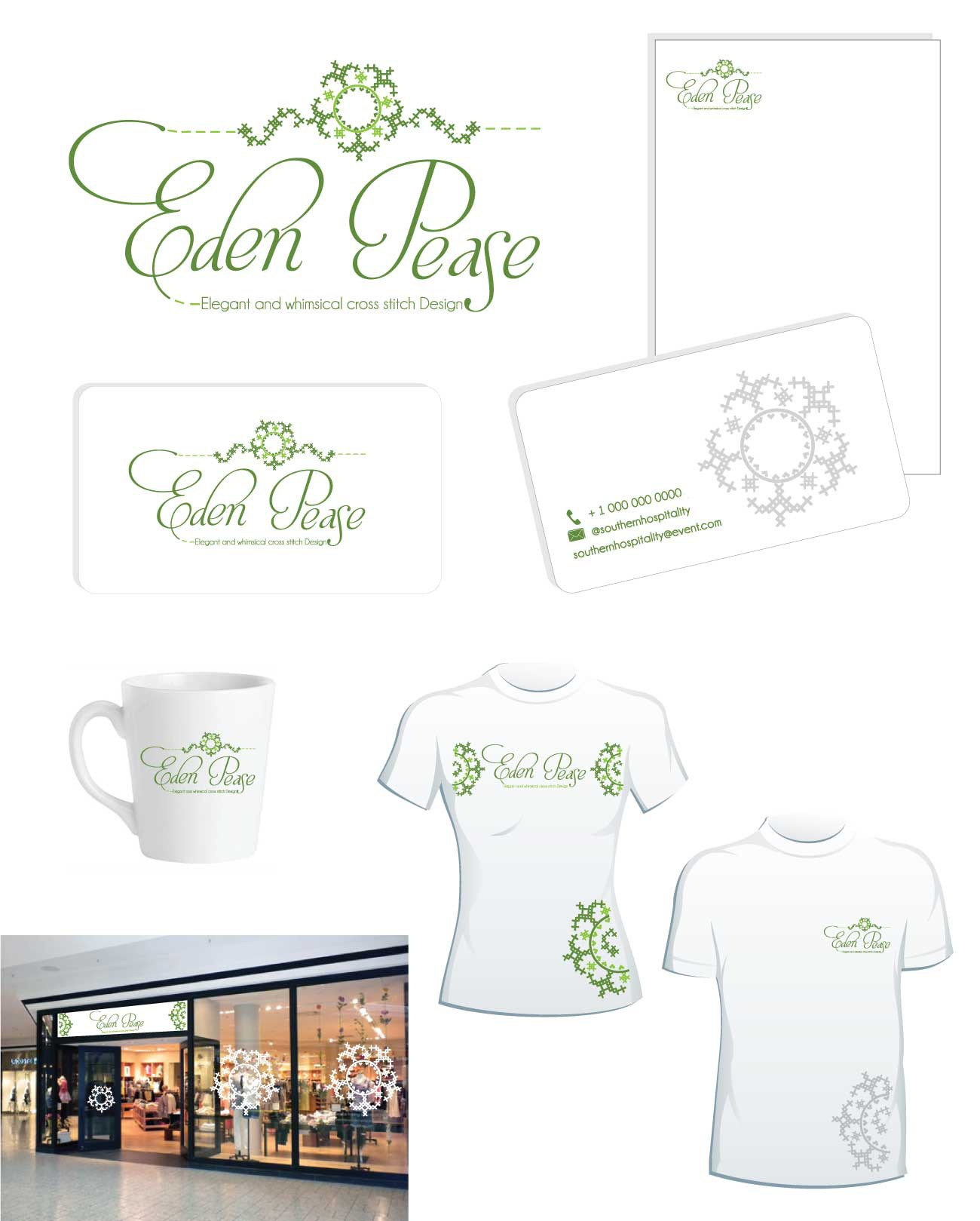 Create thelogo for Eden Pease, across stitch design company