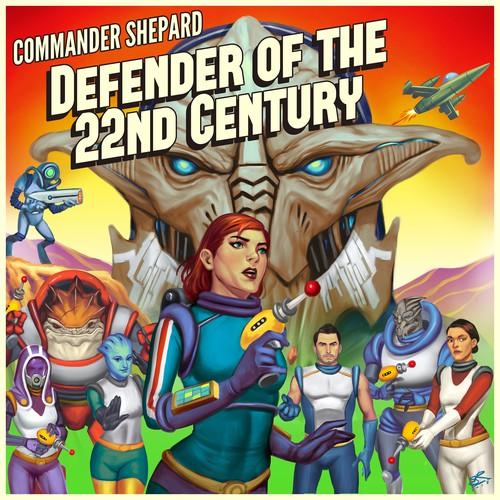 Commaander Shepard Retro Futuristic Illustration