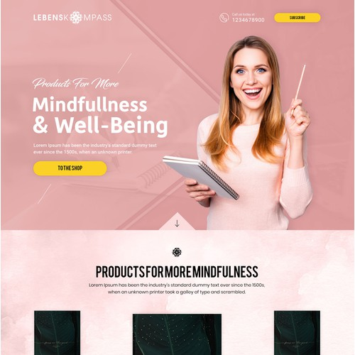 Papeterie Mindfulness Brand needs homepage design with stunning first impression