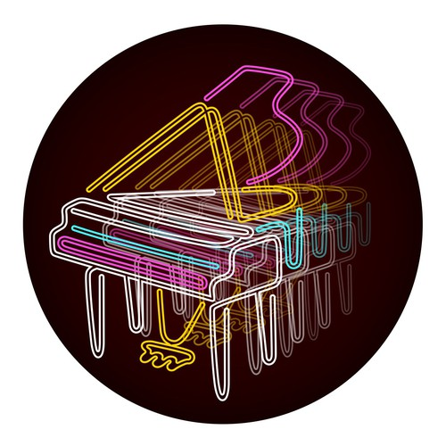 I want a circle logo that replicates this NEON PIANO INFINITY MIRROR! An artist's rendering of the attached image...