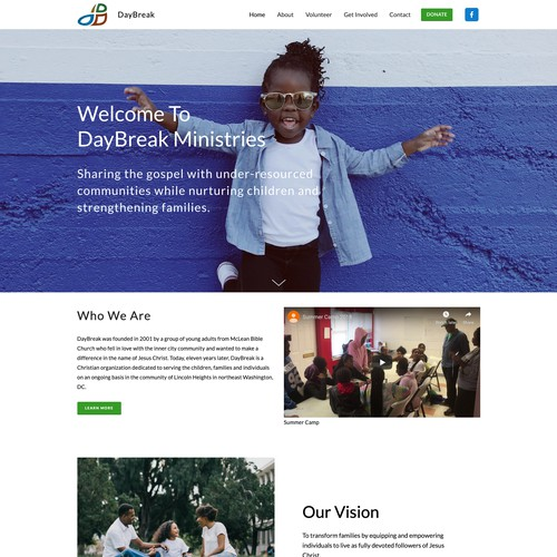 Bright and fun website for a church ministry.
