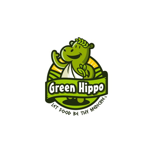 Green hippo in a Greek toga logo