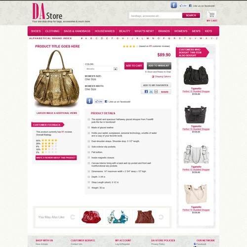 Website concept for online shopping store