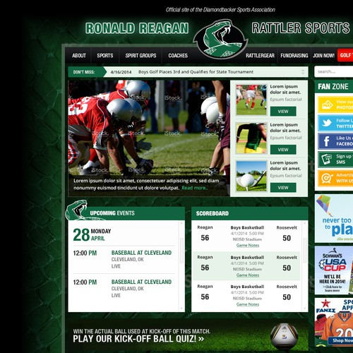Design an awesome website for high school sports!