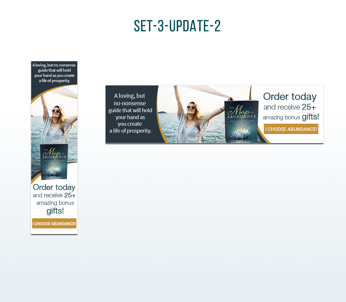 Banner ads for The Map to Abundance Book Launch
