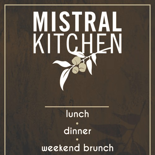 Create a great outdoor sign for Mistral Kitchen, a high-end Seattle eatery