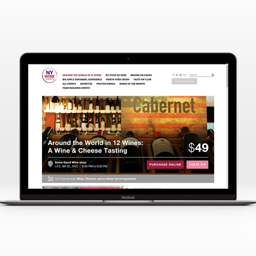 Event Landing page for  NY Wine Events