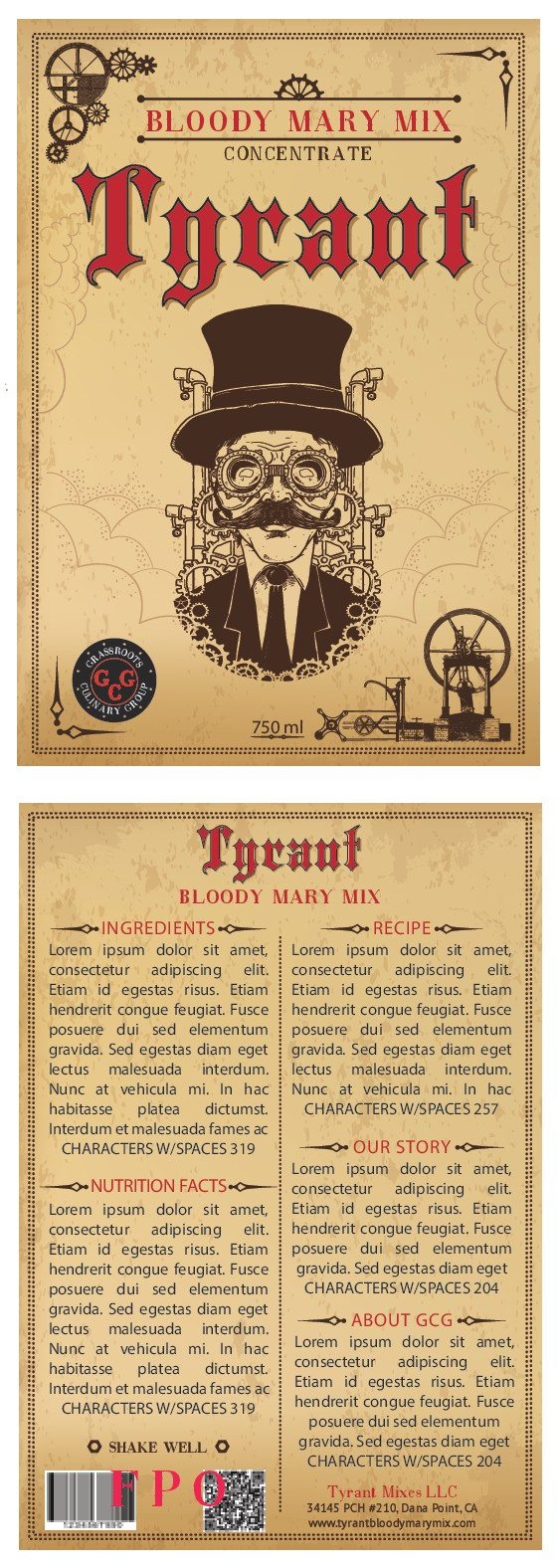 Create an old school, high-end label for our original bloody mary mix (looking for weathered, wrinkled type of label)