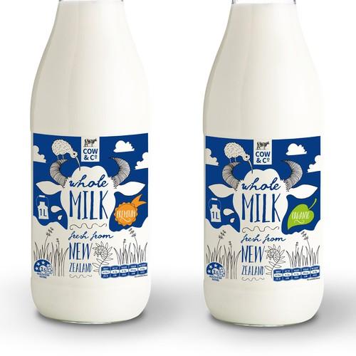 A fun label for an organic milk brand