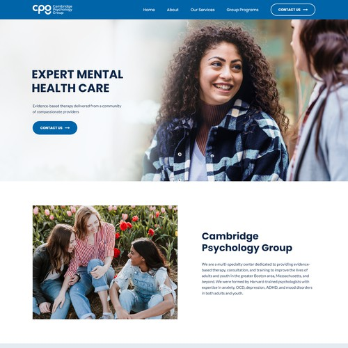 Clean Website Design For A Mental Health Care Company